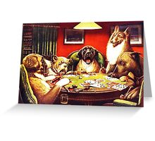 Dogs Playing Poker Vintage postcard Greeting Card