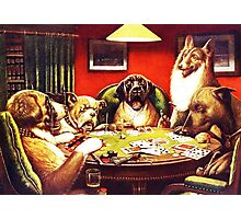 Dogs Playing Poker Vintage postcard Photographic Print