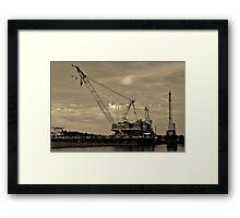 Barge Crane Framed Print