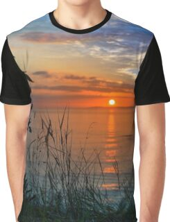sunset over loop head with silhouetted wild tall grass  Graphic T-Shirt