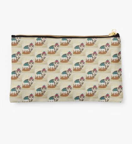 Cute grey tabby kitten and Christmas pudding cat Studio Pouch