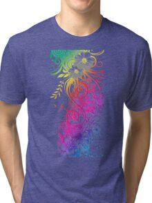 Colorful Retro Floral Pattern Tri-blend T-Shirt