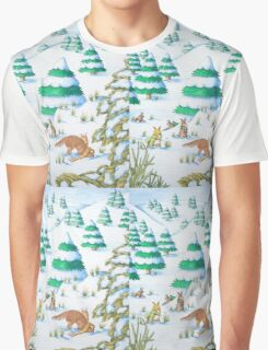 cute fox and rabbits christmas snow scene Graphic T-Shirt