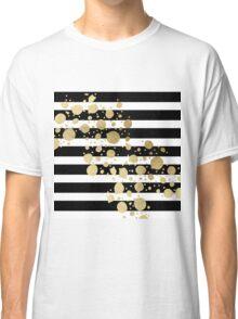 Faux Gold Paint Splatter on Black & White Stripes Classic T-Shirt