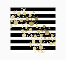 Faux Gold Paint Splatter on Black & White Stripes Classic T-Shirt