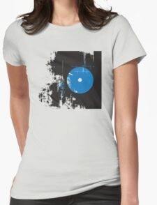 Faded Vinyl Blue Womens Fitted T-Shirt