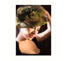 Lady in a Green Hat Art Print