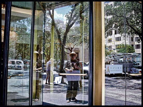 The Protester In The Glass Door - Austin - Texas by Jack McCabe
