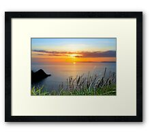 sunset over loop head with the wild tall grass Framed Print