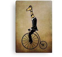 Penny-farthing Giraffe (Vintage Background) Canvas Print