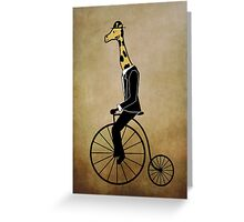 Penny-farthing Giraffe (Vintage Background) Greeting Card