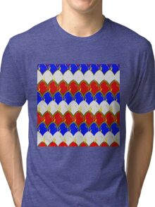 Red White & Blue with Gold Dragon Scales Tri-blend T-Shirt