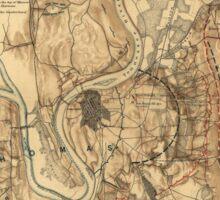 Civil War Battlefield of Chattanooga Map Nov. 23-25 1863 Sticker