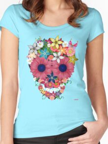 Skull Flowers Women's Fitted Scoop T-Shirt