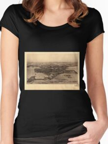 Panoramic Maps Winthrop Mass Women's Fitted Scoop T-Shirt