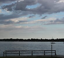 Dusk on the St. Clair River by marybedy