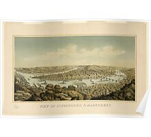 Panoramic Maps View of Pittsburgh & Allegheny Otto Krebs lith Pittsburgh Poster