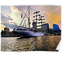Tall Ship Sunset Poster