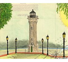 Blackwell Island Lighthouse NY Nautical Chart Peek Photographic Print