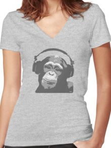 DJ MONKEY Women's Fitted V-Neck T-Shirt