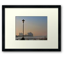 The Queen Mary 2 on a misty morning in Southampton. Framed Print