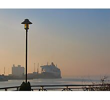 The Queen Mary 2 on a misty morning in Southampton. Photographic Print