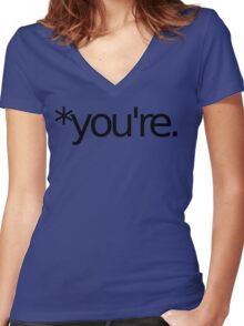 *you're. Grammar Nazi T Shirt! BLACK Women's Fitted V-Neck T-Shirt