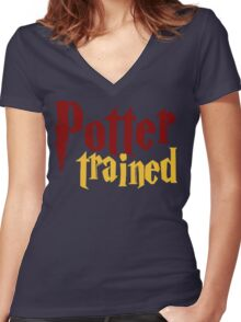 Potter Trained! Women's Fitted V-Neck T-Shirt