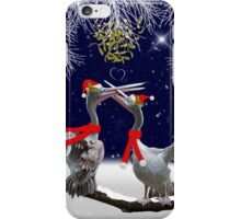 Passionate Pelicans Christmas Card iPhone Case/Skin
