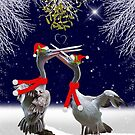 Passionate Pelicans Christmas Card by Krys Bailey