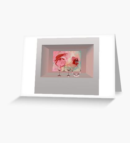 wall niche with glasses Greeting Card