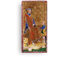 Medieval King on throne painting Canvas Print