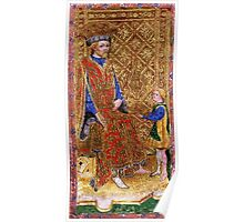 Medieval King on throne painting Poster