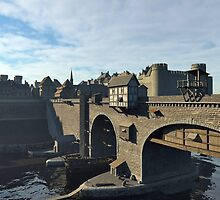 Medieval Bridge and Old Town with Castle by algoldesigns