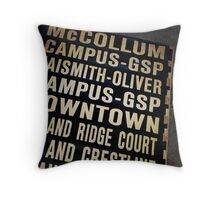 Lawrence Bus Sign Throw Pillow