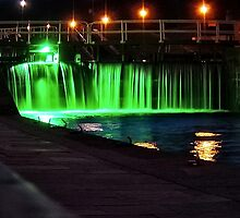 Lock in the Caledonian Canal by night by globeboater