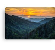 Smoky Mountains Sunset Great Smoky Mountains Gatlinburg TN Canvas Print