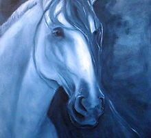 Horse - Andalusian in Indigo by Go van Kampen
