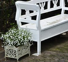 a 'bench' of flowers by shireengol