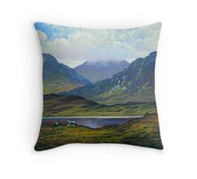 Connemara   Landscape with cattle grazing Throw Pillow
