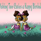 """Wishing Two Cuties a Happy B-day"" Card (blank inside) by treasured-gift"