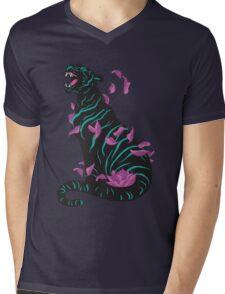 Black tiger Mens V-Neck T-Shirt