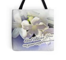 God Bless You on Your Confirmation Floral Greeting Card Tote Bag