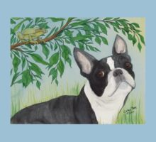 Boston Terrier Dog Tree Frog Cathy Peek Animals One Piece - Short Sleeve