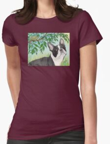 Boston Terrier Dog Tree Frog Cathy Peek Animals Womens Fitted T-Shirt