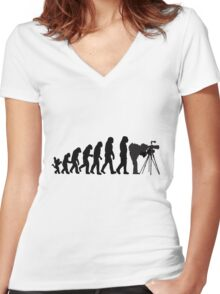 Male Photographer Evolution Tee Shirt Women's Fitted V-Neck T-Shirt