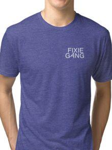fixie gang white Tri-blend T-Shirt