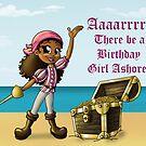 """Pirate Girl Birthday Card"" (blank inside) by treasured-gift"
