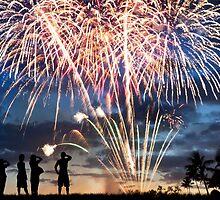 Spectacular Fireworks in Waikiki 5 by Alex Preiss