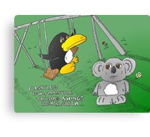 binary options news cartoon of penguin and koala Canvas Print